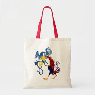 Dos bolsos coloridos de los gallos que luchan bolsa tela barata