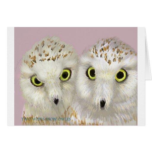 Dos búhos blancos de la nieve tarjeta de felicitación