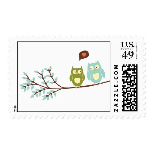 Dos búhos en acento de la rama franqueo