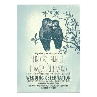 """dos búhos en invitaciones del boda de la rama del invitación 5"""" x 7"""""""