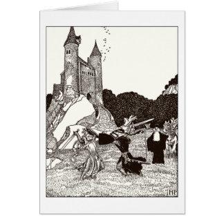 Dos caballeros que luchan antes del castillo tarjeta de felicitación