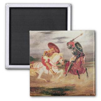 Dos caballeros que luchan en un paisaje, c.1824 imán cuadrado