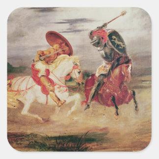 Dos caballeros que luchan en un paisaje, c.1824 pegatina cuadradas