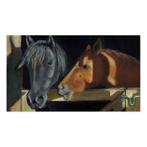Dos caballos: Arte en colores pastel del aceite: Tarjetas De Visita
