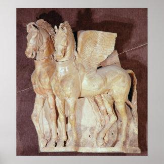 Dos caballos cons alas del frontón de a póster