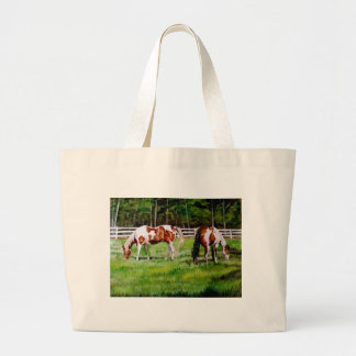 Dos caballos de la pintura que pastan bolsa tela grande