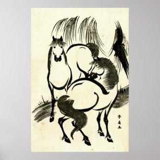 Dos caballos debajo del sauce 1811 impresiones