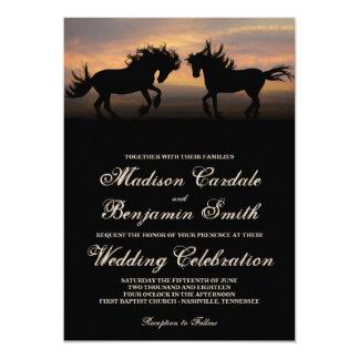 """Dos caballos en las invitaciones del boda del país invitación 5"""" x 7"""""""