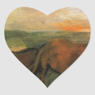 Dos caballos en un pasto de Edgar Degas Pegatina En Forma De Corazón