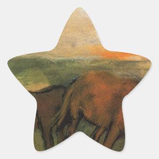 Dos caballos en un pasto de Edgar Degas Pegatina En Forma De Estrella