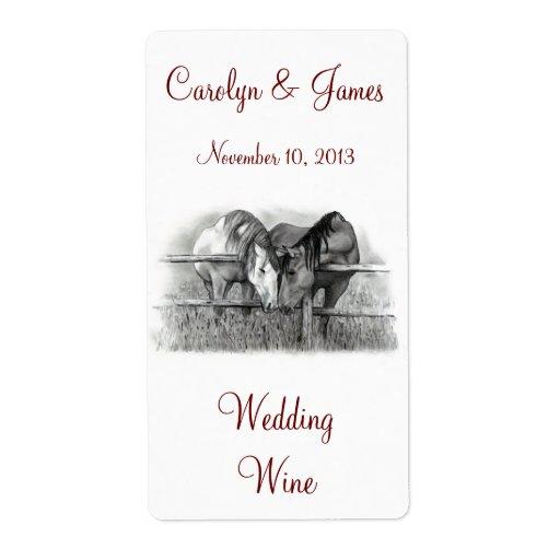 Dos caballos Nuzzling: Vino del boda: Arte del láp Etiquetas De Envío