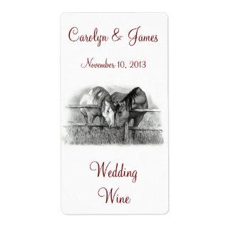 Dos caballos Nuzzling: Vino del boda: Arte del láp Etiqueta De Envío