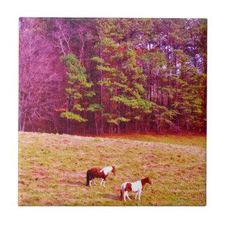 Dos caballos pintados azulejo