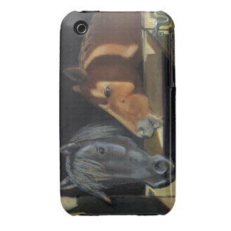 Dos caballos: Pintura en colores pastel del aceite iPhone 3 Carcasas