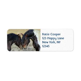 Dos caballos salvajes de Brown Nuzzling Etiqueta De Remite