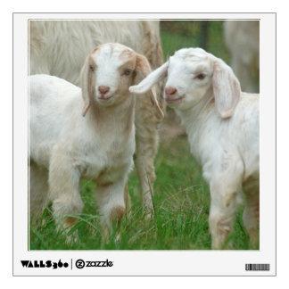 Dos cabras blancas lindas del bebé vinilo adhesivo