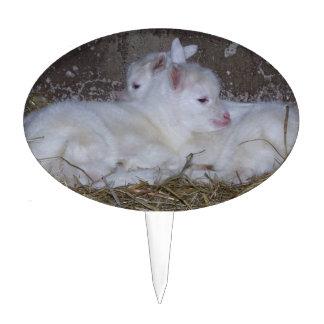 Dos cabras del bebé en paja decoración para tarta
