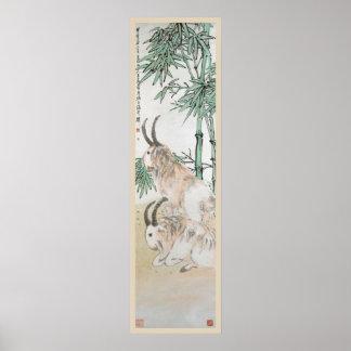 Dos cabras por Año Nuevo chino del ~ de Wang Zhen Póster