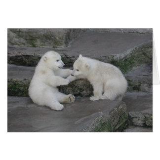 Dos cachorros del oso polar tarjeta de felicitación