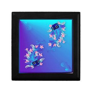 Dos cajas de regalo azules de Koi Joyero Cuadrado Pequeño