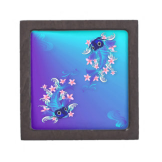Dos cajas de regalo superiores azules de Koi Caja De Regalo De Calidad