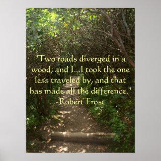 Dos caminos divergieron en un poster de madera