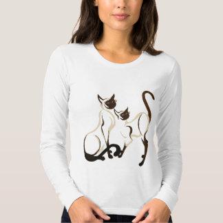Dos camisetas de los gatos siameses playera