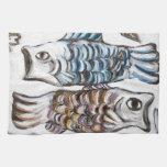 Dos carpas en el cielo (simbolismo animal) toallas de cocina