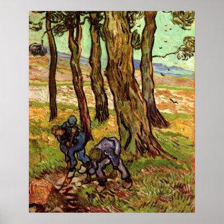 Dos cavadores entre árboles poster
