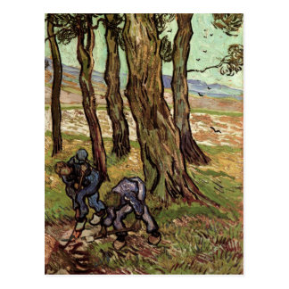 Dos cavadores entre los árboles, bella arte de Van Postales