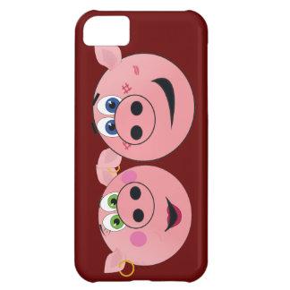 Dos cerdos divertidos del dibujo animado en amor carcasa iPhone 5C