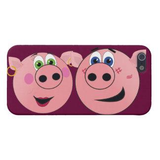Dos cerdos divertidos del dibujo animado en amor iPhone 5 funda
