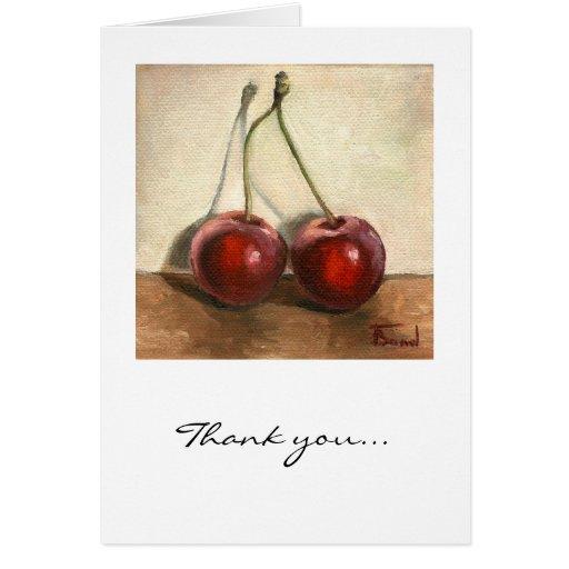 Dos cerezas tarjeta de felicitación