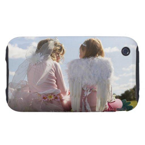 Dos chicas (7-9) vestidos como ángel y hada iPhone 3 tough fundas