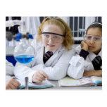 Dos chicas en capas del laboratorio del uniforme postales