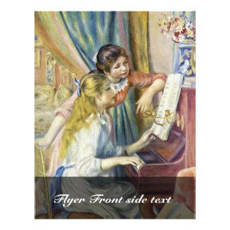 Dos chicas en el piano por Pierre-Auguste Renoir Tarjetas Informativas