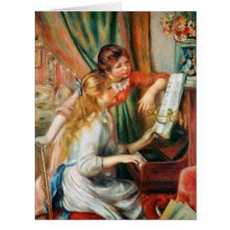 Dos chicas en el piano por Renoir grande Felicitaciones