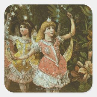 Dos chicas jóvenes realizan ballet pegatina cuadrada