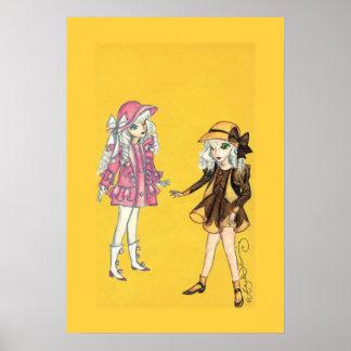 Dos chicas lindos de la moda con los gorras posters