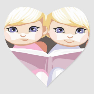 Dos chicas observados pequeño azul en rosa colcomanias corazon personalizadas