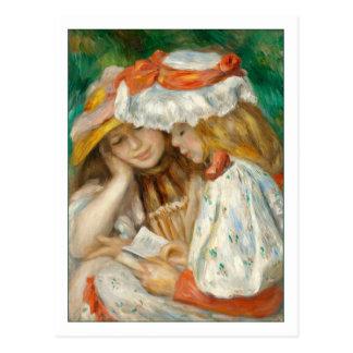 Dos chicas que leen por Renoir Postales