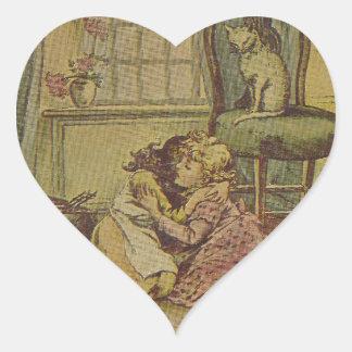 Dos chicas tristes y un gato travieso pegatina en forma de corazón