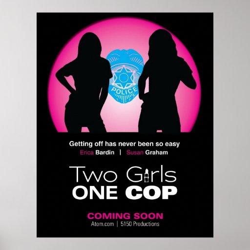 Dos chicas un aviador del poli póster