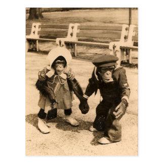 Dos chimpancés jovenes que llevan a cabo las manos postales