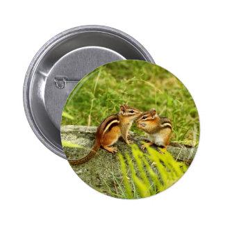 Dos Chipmunks lindos del bebé Pin Redondo 5 Cm