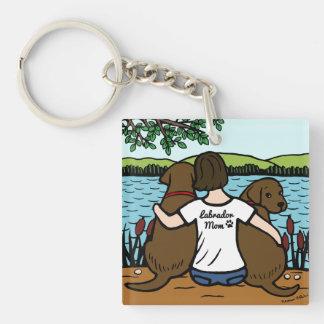 Dos chocolate Labradors y mamá Llavero Cuadrado Acrílico A Doble Cara