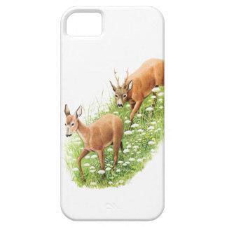 Dos ciervos en la hierba alta, ejemplo del vintage iPhone 5 coberturas