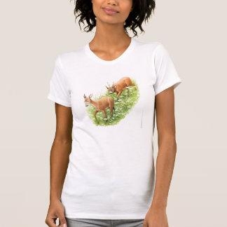 Dos ciervos en la hierba alta, ejemplo del vintage camisetas