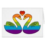 Dos cisnes del arco iris felicitación