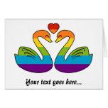Dos cisnes del arco iris felicitaciones